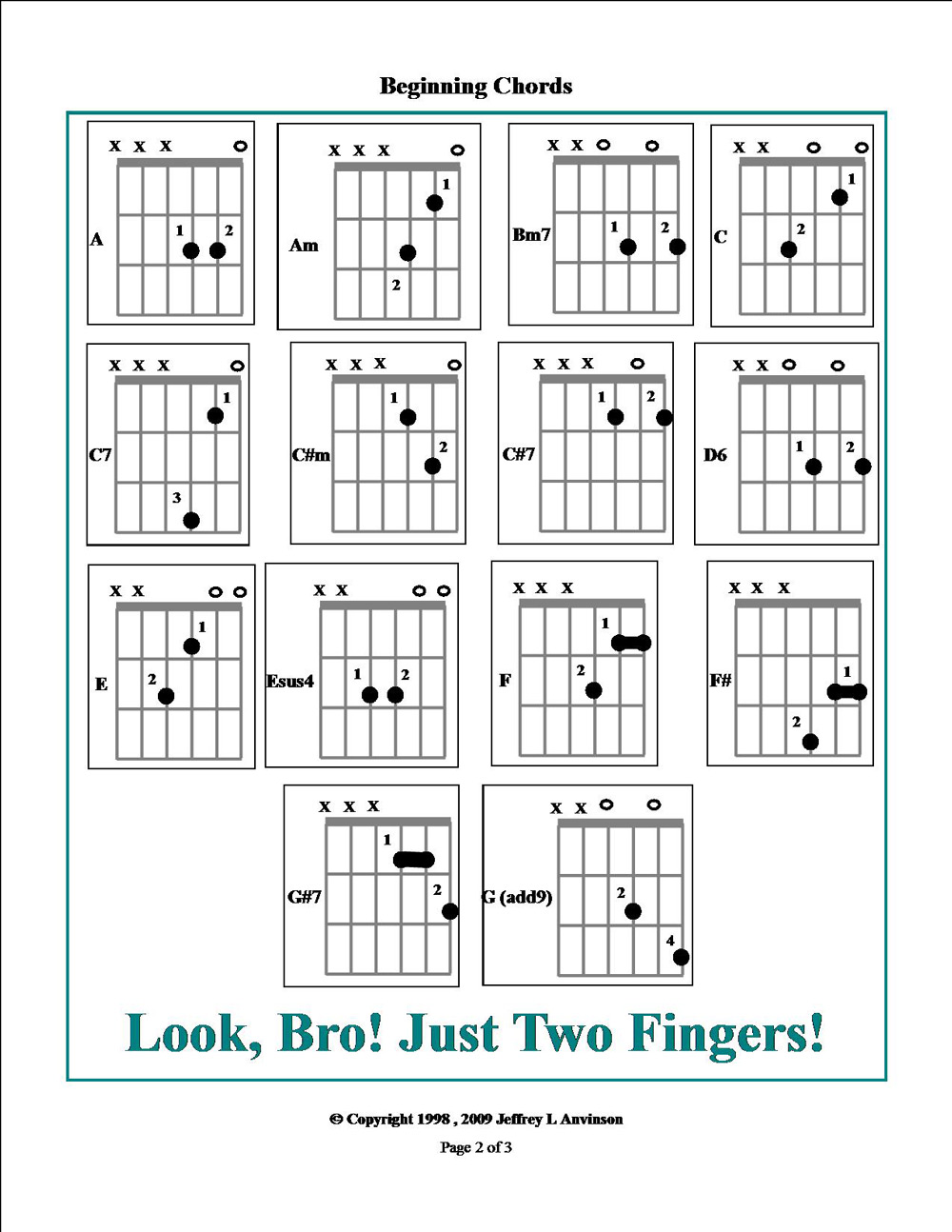 Easy Guitar Chords, Page 1