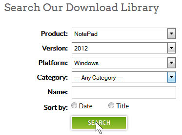"Click on ""search"" to find the correct Finale NotePad version to download"