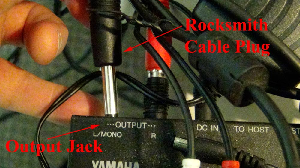 Plug the Rocksmith Cable Jack into the Electric Piano Output Jack