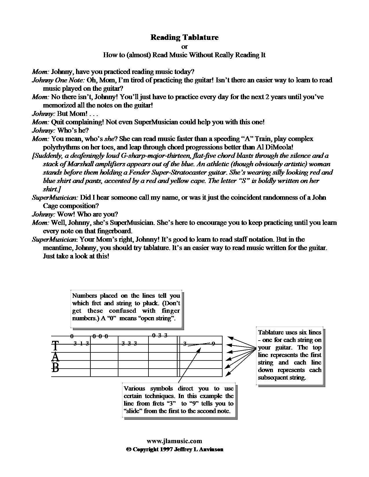 Reading Tablature - copyright 1997 Jeffrey L Anvinson