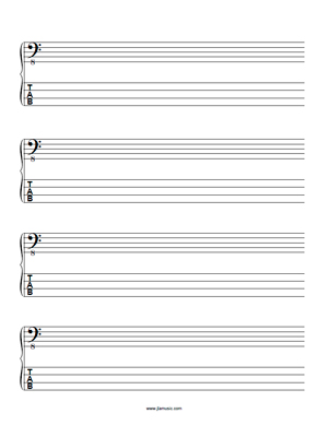 Bass Bass Clef and Bass Tab