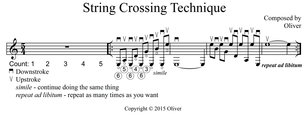 Guitar String Crossing Technique copyright 2015 Oliver