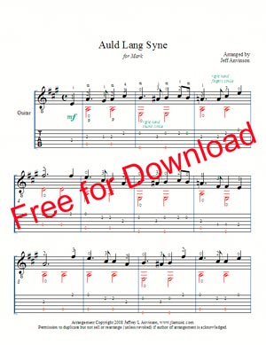 Auld Lang Syne for Solo Guitar